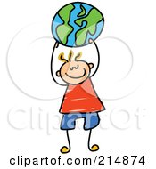 Royalty Free RF Clipart Illustration Of A Childs Sketch Of A Boy Holding Up A Globe Ball by Prawny