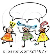 Royalty Free RF Clipart Illustration Of A Childs Sketch Of Three Girls With A Word Balloon by Prawny