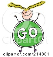Royalty Free RF Clipart Illustration Of A Childs Sketch Of A Girl With A Go Sign Body