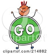 Royalty Free RF Clipart Illustration Of A Childs Sketch Of A Boy With A Go Sign Body