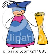 Royalty Free RF Clipart Illustration Of A Childs Sketch Of A Happy Graduate Holding A Diploma by Prawny