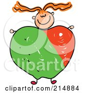 Royalty Free RF Clipart Illustration Of A Childs Sketch Of A Girl With An Apple Body by Prawny