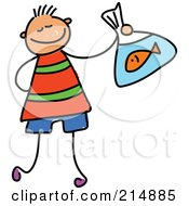 Royalty Free RF Clipart Illustration Of A Childs Sketch Of A Boy Holding A Goldfish by Prawny