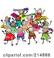 Royalty Free RF Clipart Illustration Of A Childs Sketch Of A Group Of Boys And Girls by Prawny