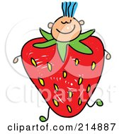 Royalty Free RF Clipart Illustration Of A Childs Sketch Of A Boy With A Strawberry Body by Prawny