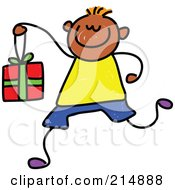 Royalty Free RF Clipart Illustration Of A Childs Sketch Of A Boy Carrying A Gift Box by Prawny