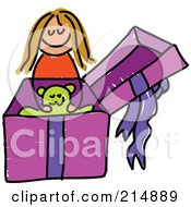 Royalty Free RF Clipart Illustration Of A Childs Sketch Of A Girl Opening A Gift With A Teddy Bear by Prawny