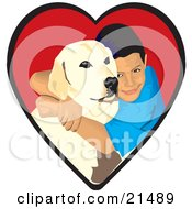 Clipart Illustration Of A Loving Boy Hugging His Yellow Labrador Retriever Dog In A Red Heart by David Rey #COLLC21489-0052