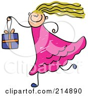 Royalty Free RF Clipart Illustration Of A Childs Sketch Of A Girl Carrying A Gift Box by Prawny