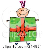 Royalty Free RF Clipart Illustration Of A Childs Sketch Of A Boy With A Present Body by Prawny