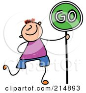 Royalty Free RF Clipart Illustration Of A Childs Sketch Of A Boy Walking With A Go Sign