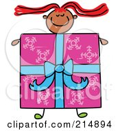 Royalty Free RF Clipart Illustration Of A Childs Sketch Of A Girl With A Present Body by Prawny