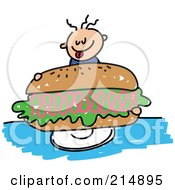 Royalty Free RF Clipart Illustration Of A Childs Sketch Of A Boy Holding A Giant Ham Sandwich by Prawny