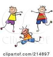 Royalty Free RF Clipart Illustration Of A Childs Sketch Of Three Boys 1
