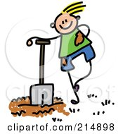 Childs Sketch Of A Boy Leaning On A Shovel