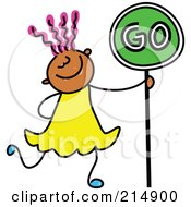 Royalty Free RF Clipart Illustration Of A Childs Sketch Of A Girl Walking With A Go Sign
