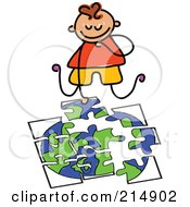 Royalty Free RF Clipart Illustration Of A Childs Sketch Of A Boy Doing A Globe Puzzle