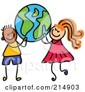 Royalty Free RF Clipart Illustration Of A Childs Sketch Of A Boy And A Girl Carrying A Globe by Prawny