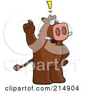 Royalty Free RF Clipart Illustration Of A Big Boar Standing On His Hind Legs Holding His Finger Up With An Idea by Cory Thoman