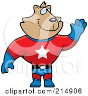 Royalty Free RF Clipart Illustration Of A Super Hero Cat Waving by Cory Thoman