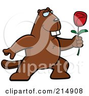 Royalty Free RF Clipart Illustration Of A Romantic Beaver Presenting A Rose by Cory Thoman