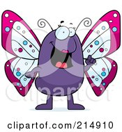 Royalty Free RF Clipart Illustration Of A Butterfly With An Idea Gesturing With A Finger by Cory Thoman