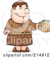 Royalty Free RF Clipart Illustration Of A Friar Man Holding A Beer Mug