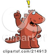 Royalty Free RF Clipart Illustration Of A Big Dinosaur Standing On His Hind Legs Holding His Finger Up With An Idea by Cory Thoman