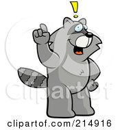 Big Raccoon Standing On His Hind Legs Holding His Finger Up With An Idea