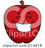 Royalty Free RF Clipart Illustration Of A Happy Red Apple Character by Cory Thoman