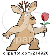 Royalty Free RF Clipart Illustration Of A Romantic Jackalope Presenting A Rose