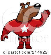Royalty Free RF Clipart Illustration Of A Super Hero Bear Waving by Cory Thoman