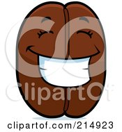 Royalty Free RF Clipart Illustration Of A Happy Coffee Bean Character by Cory Thoman