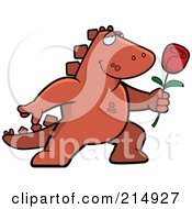 Romantic Dinosaur Presenting A Rose by Cory Thoman