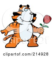 Royalty Free RF Clipart Illustration Of A Romantic Tiger Presenting A Rose by Cory Thoman