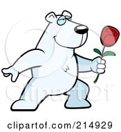Royalty Free RF Clipart Illustration Of A Romantic Polar Bear Presenting A Rose by Cory Thoman