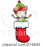 Royalty Free RF Clipart Illustration Of A Tiny Elf Popping Out Of A Christmas Stocking by Cory Thoman