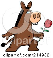 Royalty Free RF Clipart Illustration Of A Romantic Donkey Presenting A Rose by Cory Thoman