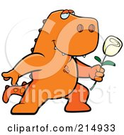 Royalty Free RF Clipart Illustration Of A Romantic Tyrannosaurus Rex Presenting A Rose by Cory Thoman