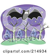 Royalty Free RF Clipart Illustration Of A Black Bat Flying Over Trees And Hills by Cory Thoman