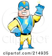 Royalty Free RF Clipart Illustration Of A Super Hero Waving by Cory Thoman