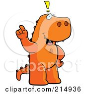 Big Tyrannosaurus Rex Standing On His Hind Legs Holding His Finger Up With An Idea