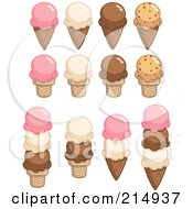 Royalty Free RF Clipart Illustration Of A Digital Collage Of Strawberry Vanilla Chocolate And Cookie Dough Ice Cream Cones