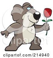Royalty Free RF Clipart Illustration Of A Romantic Koala Presenting A Rose