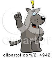 Royalty Free RF Clipart Illustration Of A Big Wolf Standing On His Hind Legs Holding His Finger Up With An Idea by Cory Thoman