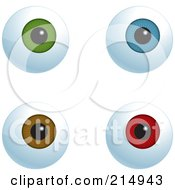 Royalty Free RF Clipart Illustration Of A Digital Collage Of Green Blue Brown And Red Eyeballs