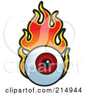 Royalty Free RF Clipart Illustration Of A Flaming Red Eyeball