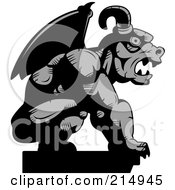 Royalty Free RF Clipart Illustration Of A Profiled Stone Gargoyle Statue In Grayscale
