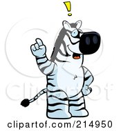 Royalty Free RF Clipart Illustration Of A Big Zebra Standing On His Hind Legs Holding His Finger Up With An Idea by Cory Thoman