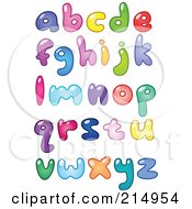 Digital Collage Of Colorful Lowercase Bubbly Letters